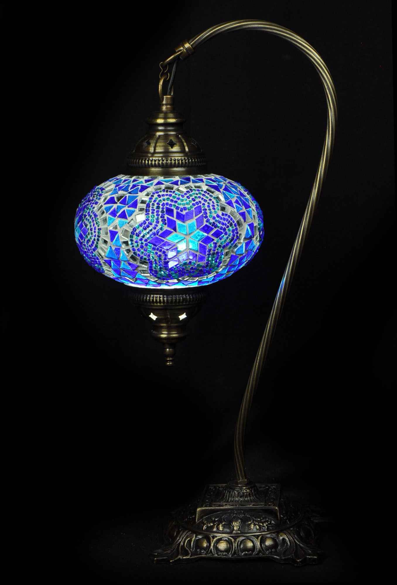 Table lampmosaic glass turkish lamp swan neck large 3500 simmilar products mosaic table lamp medium mozeypictures Image collections